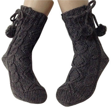 Cable Knit Fashion Slipper Socks With Tied Pom Pom Global Sources
