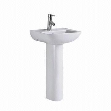 Delightful China White Ceramic Bathroom Single Hole Pedestal Sink, Measures 545 X 435  X 800mm