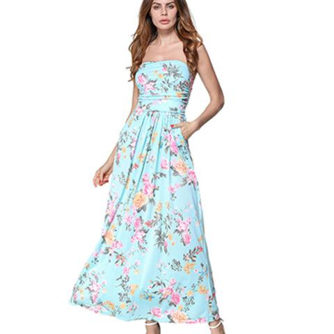 8b2999ea1141 China Strapless Maxi Boho Dress Women Summer Beach Dress 2018 Off Shoulder  Casual Print Dresses ...