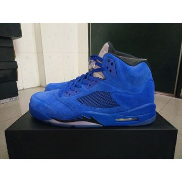 55e169e75b2aad China Basketball shoes retro 5s blue Suede 136027-401 men athletic shoes  retail wholesale