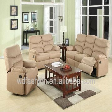 ... China Microfiber Bright Color 3+2+1 Elegant Recliner Sofa Set