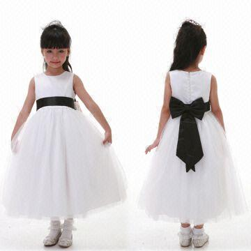 White black bow tie satin bridesmaids flower girl dress global china white black bow tie satin bridesmaids flower girl dress mightylinksfo