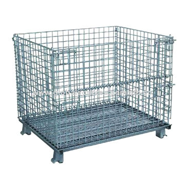 Wire mesh container trolley with zinc powder coating,with wheels ...