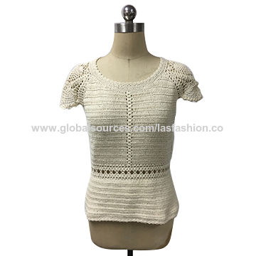 China Women s crew neck crochet pullover with scallop short sleeves ... 8d5ae2159