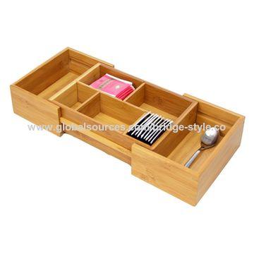 China Bamboo Small Drawer Inserts Organizer Cutlery Tray