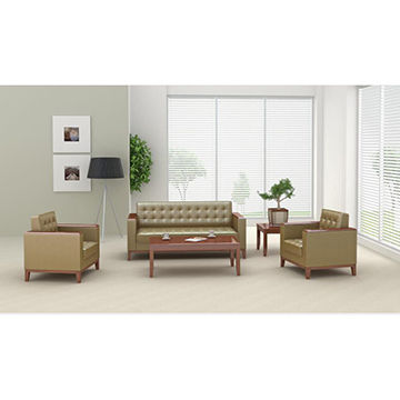 China Luxury Heavy Duty Brown Genuine Leather Ergonomic Office Sofa Set