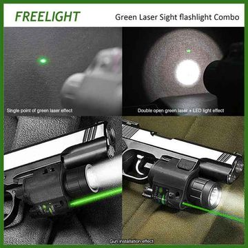 Tactical Compact Green Dot Laser Sight Scope with LED Flashlight Combo Gun Laser