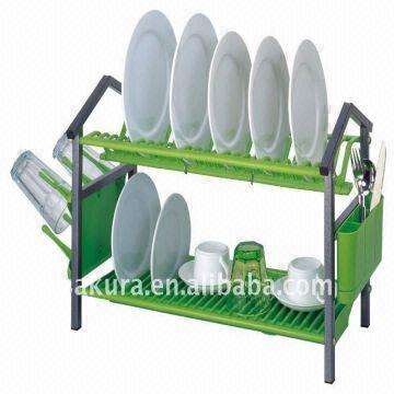 ... China 22u0027u0027 large size 2 layer plastic kitchen PLATE RACK  sc 1 st  Global Sources & 22u0027u0027 large size 2 layer plastic kitchen PLATE RACK in green color ...