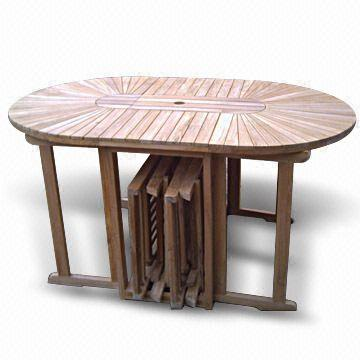 Indonesia Oblong Folding Table With Sun Design, Six Chairs Can Fit  Underneath