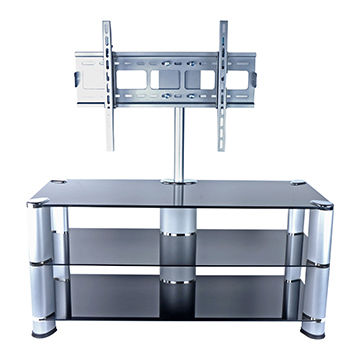 China Black Glass Tv Stand With Wall Mount For 42 65 Inches On