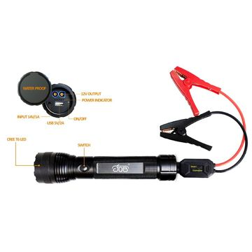 China 1000 lumens LED torch with power bank multiple function jump starter torch