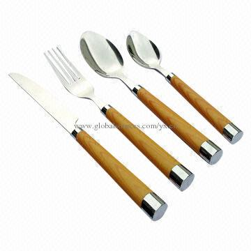 china stainless steel wooden handle cutlery set 15mm thickness mirror polishing