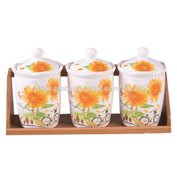 Beautiful Sunflower Decal Ceramic Tea Coffee Sugar Canisters Set with Bamboo  UH01