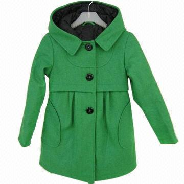 Younger girls' shocking green washable wool coat/4 to 14y | Global ...