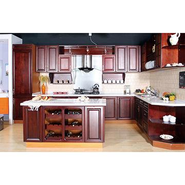 Cherry wood door panel kitchen cabinet. | Global Sources