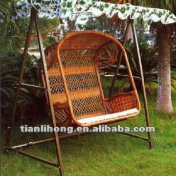 China Patio Garden Two Seat Rattan Hanging Swing Basket Chair