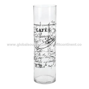China 40cm Height Black Decal Clear Glass Vase On Global Sources