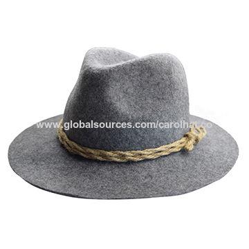 100% Australian wool 8cm hard brim men s felt fedora hat with rope ... 27fcd2ae038