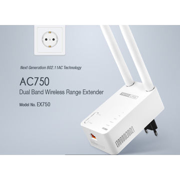China EX750/AC/750Mbps Wireless Dual Band Wi-Fi Repeater with Detachable Plug