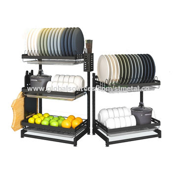 China 2 3 Tiers Plate Bowl Drainer Rack, Plate Storage Rack
