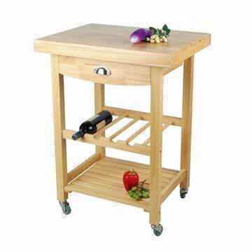 China Oak Kitchen Cart With Drawer, Wine Rack And Shelf