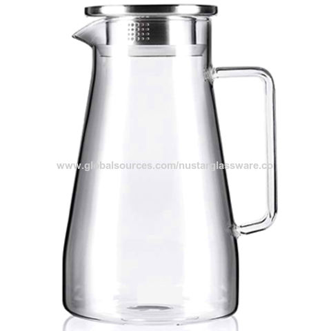 China Glass Water Pitcher With Stainless Steel Lid Stovetop Safe