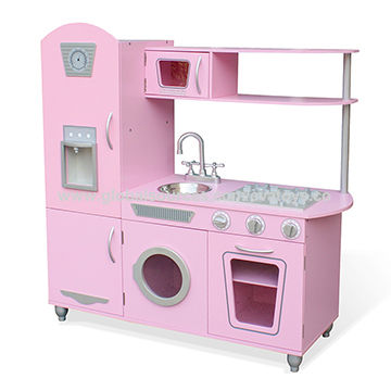 China Pink Wooden Kids Play Kitchen With Large Size W10c384b