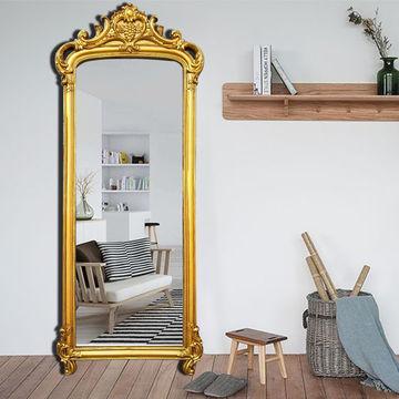 Retro Gold Wall Mirror Antique, Baroque Gold Floor Mirror