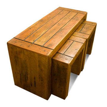 India Coffee Table With Sitting Stool, Wood Made
