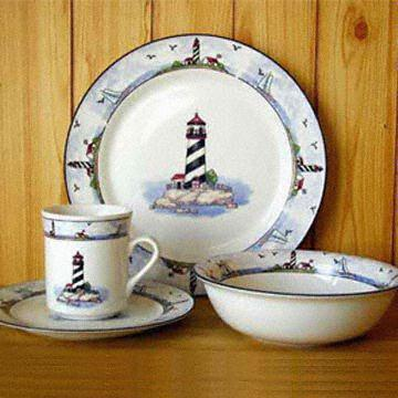Fda Approved 16 Piece Dinner Set With Lighthouse Decal Global Sources