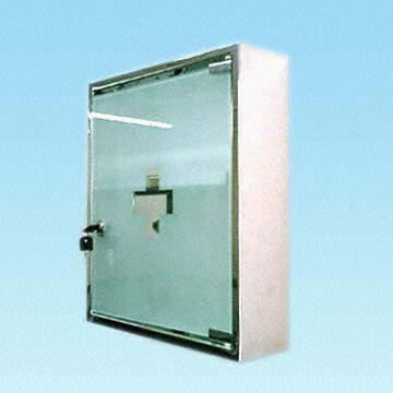 China Wall Mounted Two Tier Stainless Steel Medicine Cabinet With Frosted Gl Door
