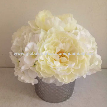 China 11 artificial white flowers from shenzhen wholesaler china 11 artificial silk flowers white hydrangea in golden ceramic pot homeoffice wedding mightylinksfo