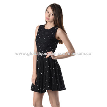 India Black White Heart Print Women's Short Dress