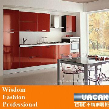 China Red Gloss Kitchen Cabinet Gl Doors Design Units Easy To Clean