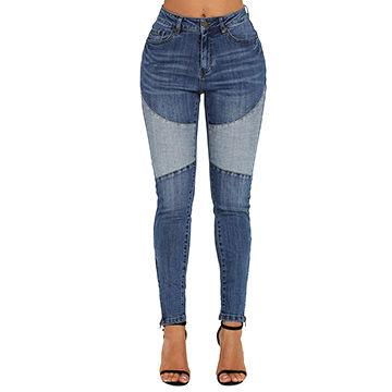 fcdf933179d China Latest design lady Blue High Waist Zipped Jeans,Made of 98%Cotton+ ...