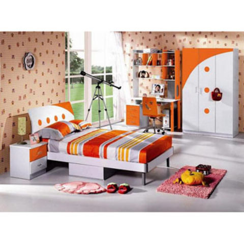 Children S Bedroom Furniture Includes Bed Stand Wardrobe Computer Desk And Bookcase