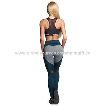 992e9f1209a China Customize Sexy Heart Shaped Women Sports Tights Fitness Leggings High  Waist Yoga Pants ...