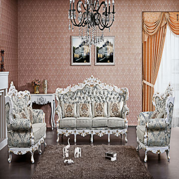 ... China DXY 833# Rubber Wood Carved Furniture Sofa Sets