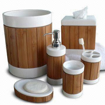 taiwan bath accessoriesset made of white ceramic body with bamboo panel design - White Bathroom Accessories Ceramic