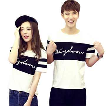 2d1998c1998 China Made in China Promotional Short-sleeved Custom Cute Couple T-shirt