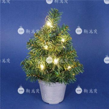 china 12 inch potted pine artificial christmas tree with mini lights - 12 Artificial Christmas Tree