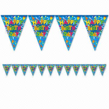 promotional happy birthday pennants paper pennant banner with string