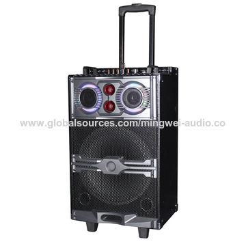 "China 12""portable trolley speaker with wireless micphone+FM radio+Bluetooth"