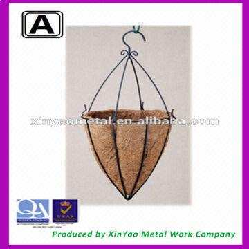 China Cone Shape Hanging Basket With Hooks Metal Wire Flower Coco Liner