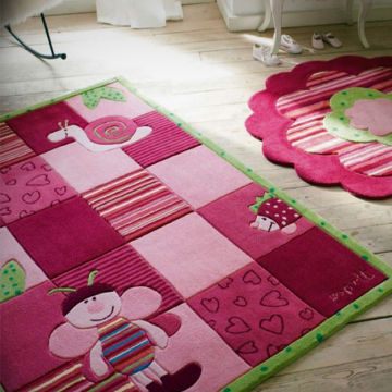 Hand Made Children Carpet Acrylic Kids Rug With Wool Grils