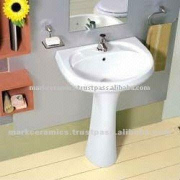 India Bathroom Pedestal Sink 1 Size : 22x16 2 Colour Available: White,Blue,