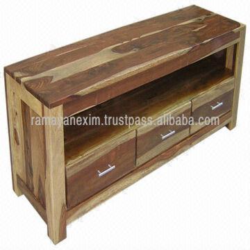 India Natural Sheesham Wood Furniture Living Room Tv Stand