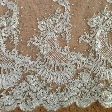 China Low End Beaded Embroidery Fabric For Evening Or Bridal Dress With Diamonds