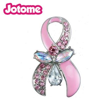 be62f4f672 2 inch Crystal Breast Cancer Awareness Pink Ribbon enamel and ...