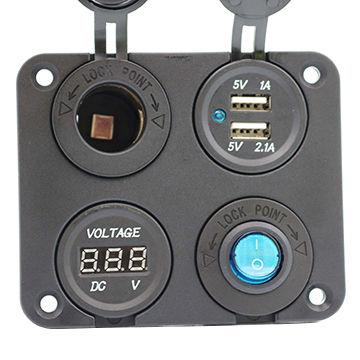12V Battery Voltmeter Blue Three Banks w//Switch Marine USB Charger /& Plug Socket